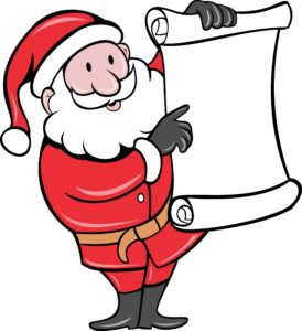 santa holding wish list