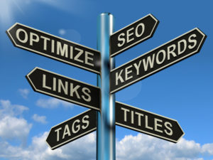 SEO Optimize Keywords Links Signpost Showing Website Marketing Optimization road sign for local seo