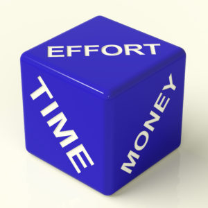 Effort Time Money Blue Dice Representing The Ingredients For making the most out of your online marketing