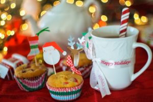 muffins, tea, and holiday drink filled with holiday cheer from marketing campaign