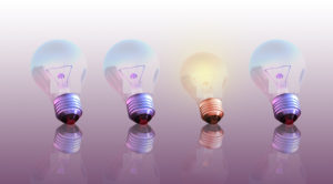 one lit light bulb that is like business that stands out on social media